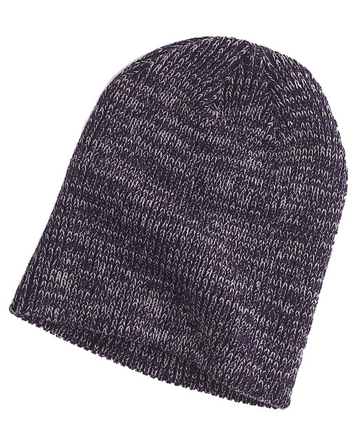 Big Accessories Ribbed Marled Beanie - Navy/ Gray