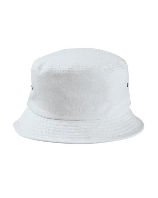 Big Accessories Metal Eyelet Bucket Cap - White