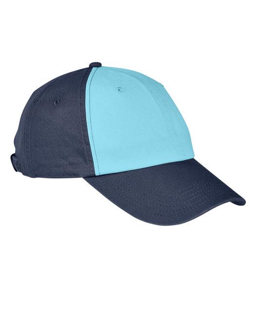 Big Accessories 100% Washed Cotton Twill Baseball Cap - Aqua/ Navy