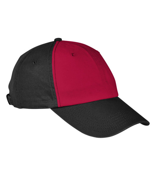 Big Accessories 100% Washed Cotton Twill Baseball Cap - Brick/ Black