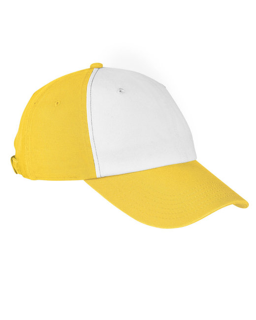 Big Accessories 100% Washed Cotton Twill Baseball Cap - White/ Sunry Ylw