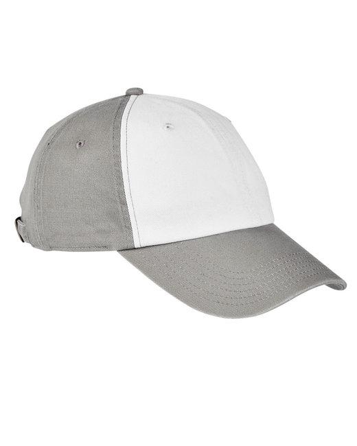 Big Accessories 100% Washed Cotton Twill Baseball Cap - White/ Concrete