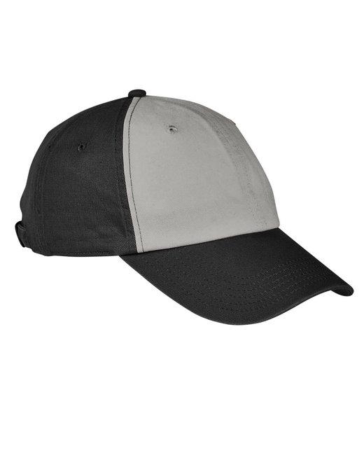 Big Accessories 100% Washed Cotton Twill Baseball Cap - Concrete/ Black