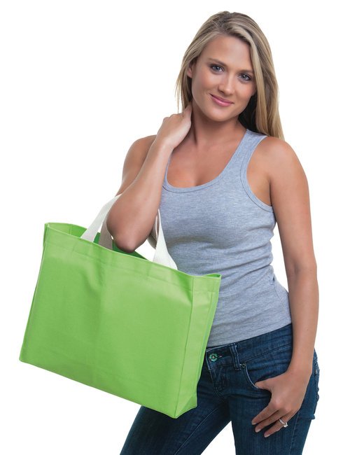 Bayside 12 oz., Cotton Canvas Medium Gusset Tote - Lime Green