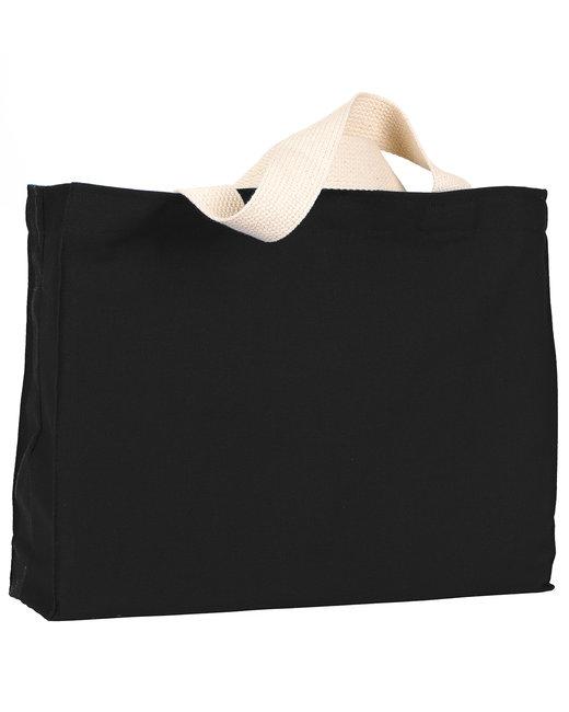 Bayside 12 oz., Cotton Canvas Medium Gusset Tote - Black