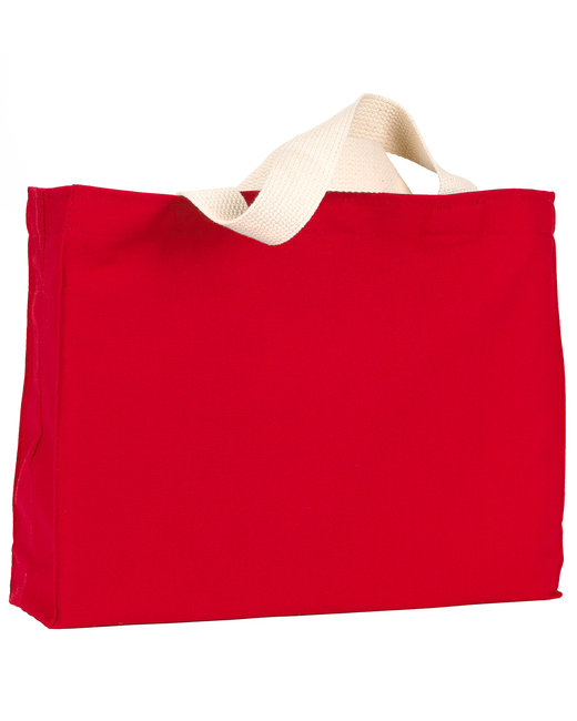 Bayside 12 oz., Cotton Canvas Medium Gusset Tote - Red