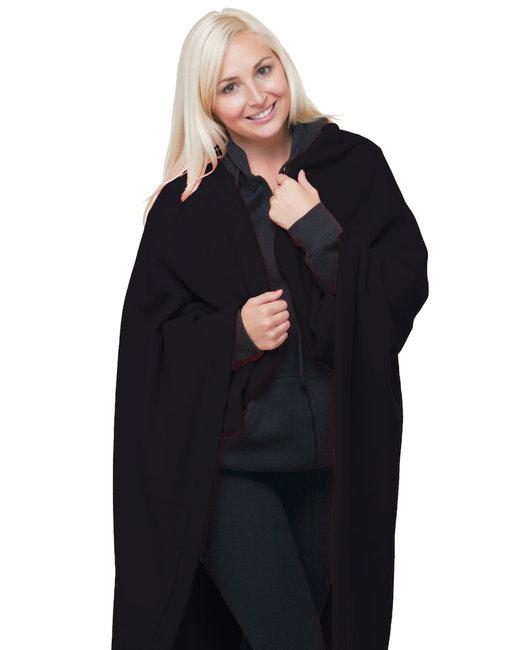 Bayside Polyester Stadium Fleece Blanket - Black