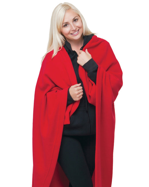 Bayside Polyester Stadium Fleece Blanket - Red