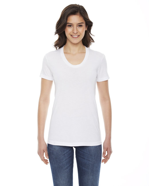 American Apparel Ladies' Poly-Cotton Short-Sleeve Crewneck - White