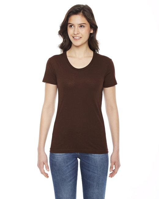 American Apparel Ladies' Poly-Cotton Short-Sleeve Crewneck - Brown
