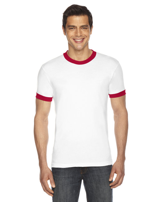 American Apparel UNISEX Poly-Cotton Short-Sleeve Ringer T-Shirt - White/ Red