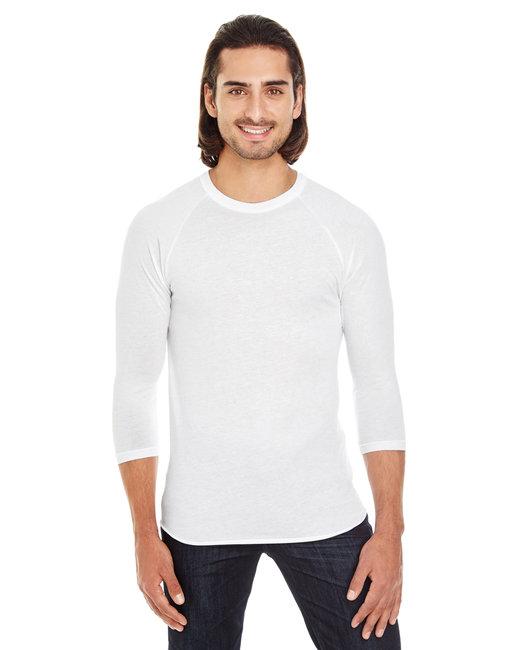 American Apparel Unisex Poly-Cotton 3/4-Sleeve Raglan T-Shirt - White