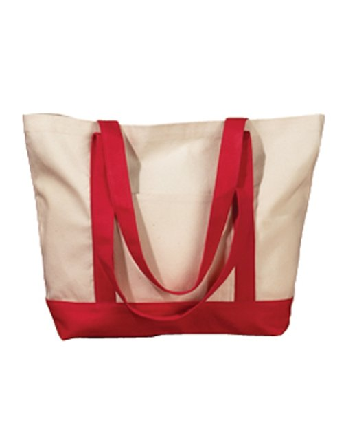 BAGedge 12 oz. Canvas Boat Tote - Natural/ Red