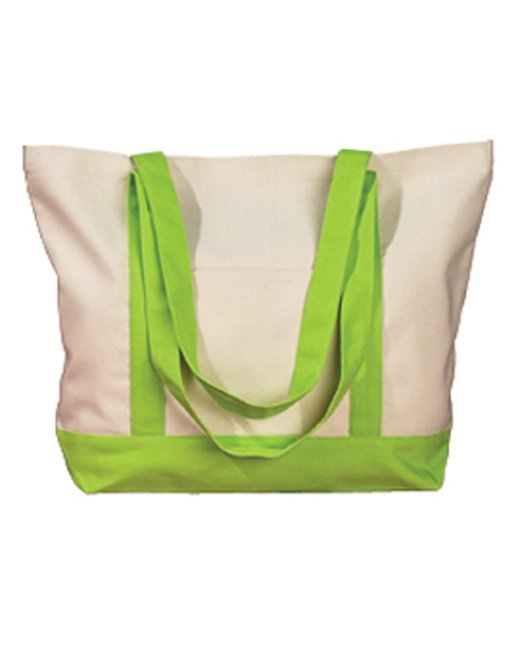 BAGedge 12 oz. Canvas Boat Tote - Natural/ Lime