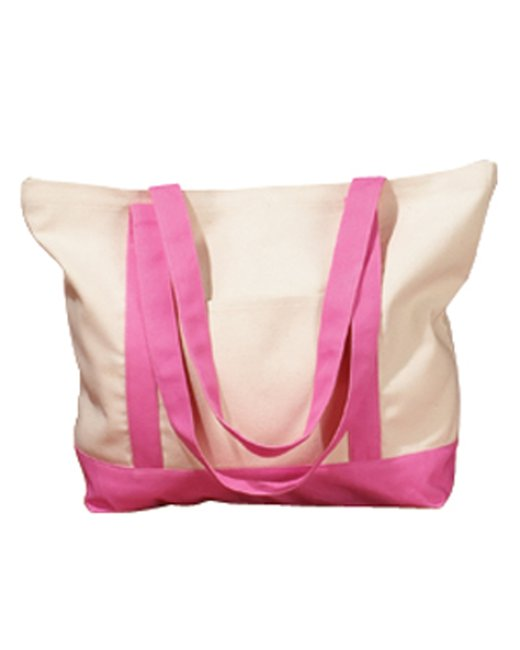 BAGedge 12 oz. Canvas Boat Tote - Natural/ Pink