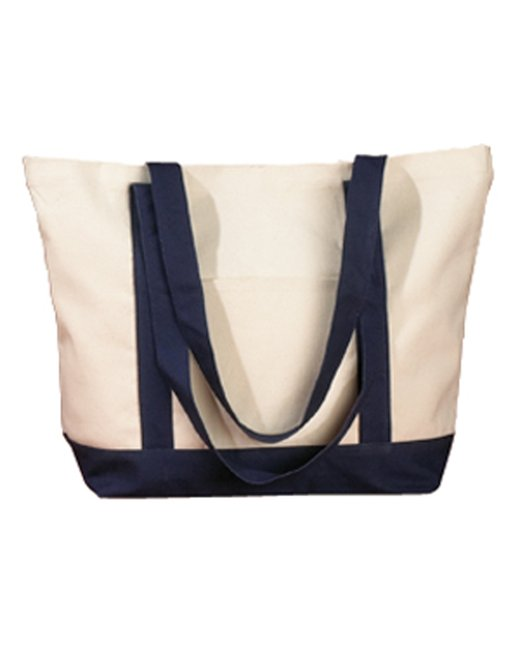 BAGedge 12 oz. Canvas Boat Tote - Natural/ Navy