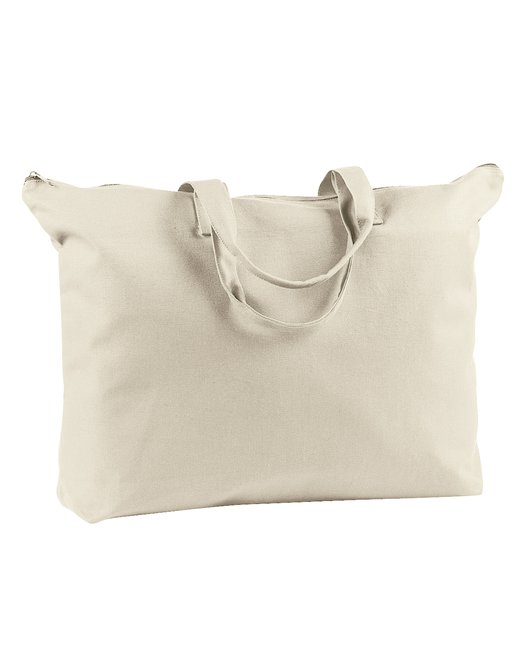 BAGedge 12 oz. Canvas Zippered Book Tote - Natural