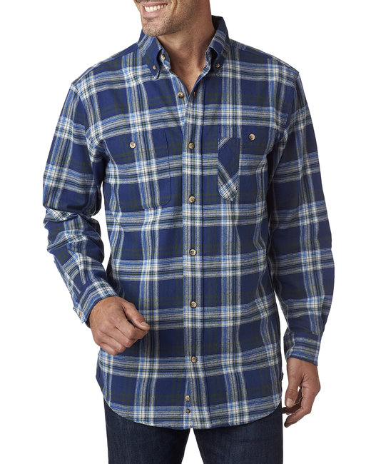Backpacker Men's Tall Yarn-Dyed Flannel Shirt - Blue/ Green