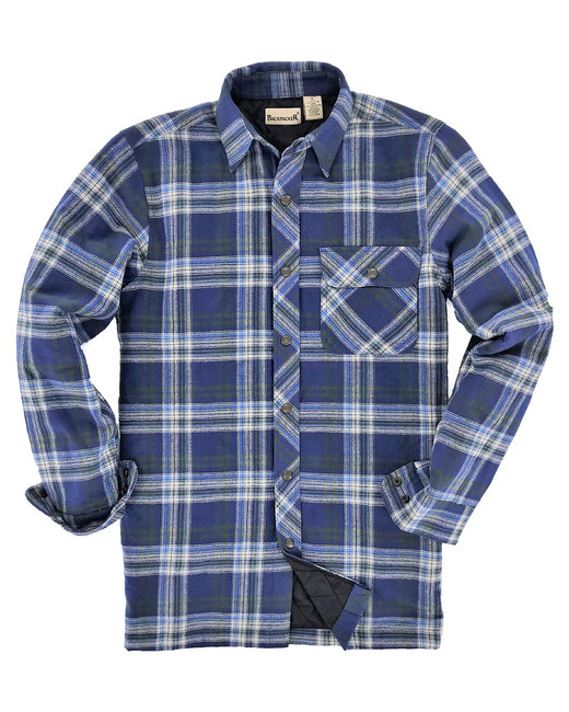 Backpacker Men's Flannel Shirt Jacket with Quilt Lining - Blue/ Green