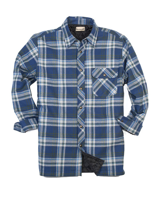Backpacker Men's Tall Flannel Shirt Jacket with Quilt Lining - Blue/ Green