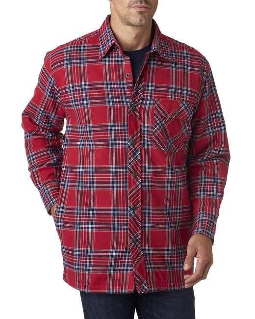 Backpacker Men's Tall Flannel Shirt Jacket with Quilt Lining - Blue Stuart