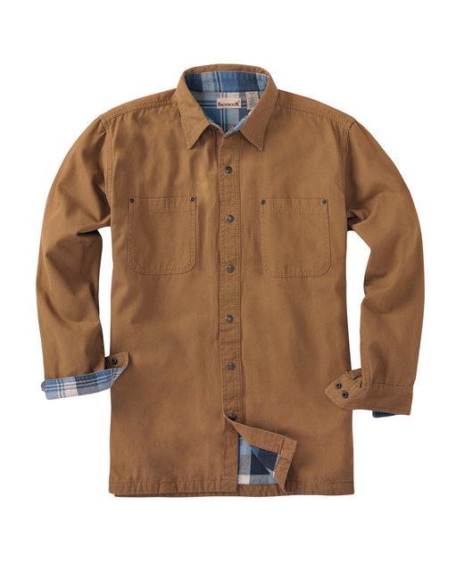 Backpacker Men's Tall Canvas Shirt Jacket with Flannel Lining - Brown