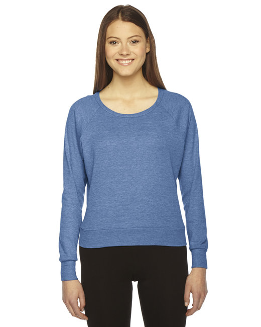 American Apparel Ladies' Triblend Lightweight Raglan Pullover - Athletic Blue