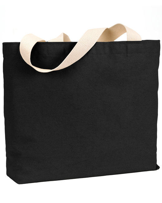 Bayside 12 oz., Cotton Canvas Jumbo Tote - Black