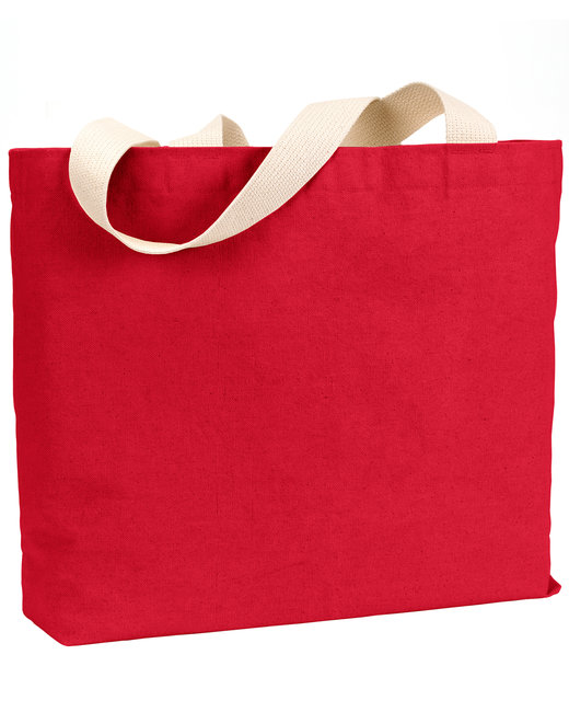 Bayside 12 oz., Cotton Canvas Jumbo Tote - Red