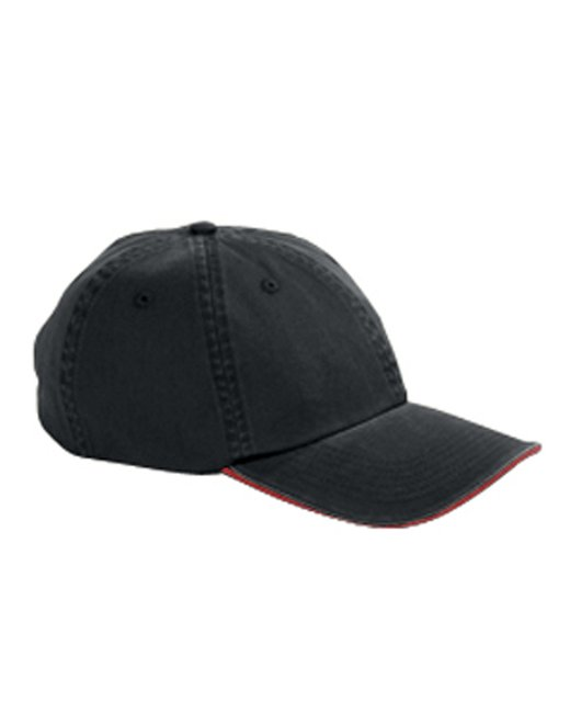 Big Accessories Washed Twill Sandwich Cap - Black/ Red