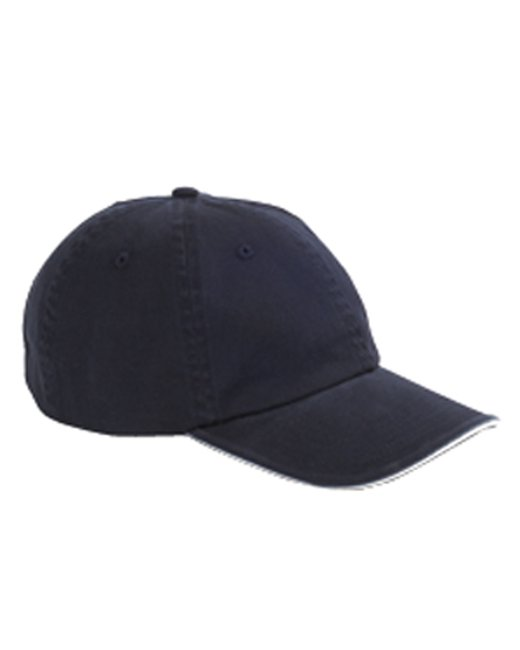 Big Accessories Washed Twill Sandwich Cap - Navy/ White