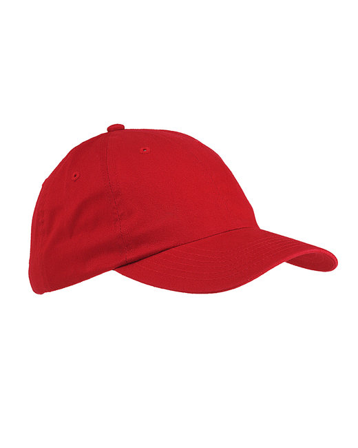 Big Accessories 6-Panel Brushed Twill Unstructured Cap - Red
