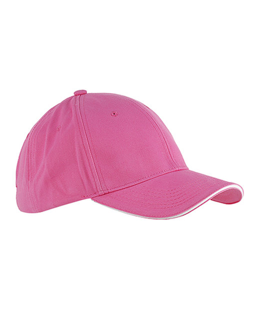 Big Accessories 6-Panel Twill Sandwich Baseball Cap - Pink/ White