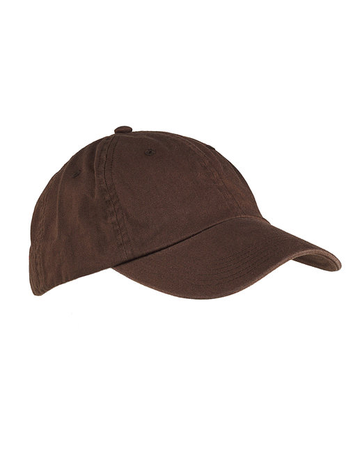 Big Accessories 6-Panel Washed Twill Low-Profile Cap - Coffee