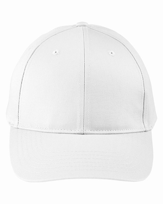 Big Accessories Adult Structured Twill 6-Panel Snapback Cap - White