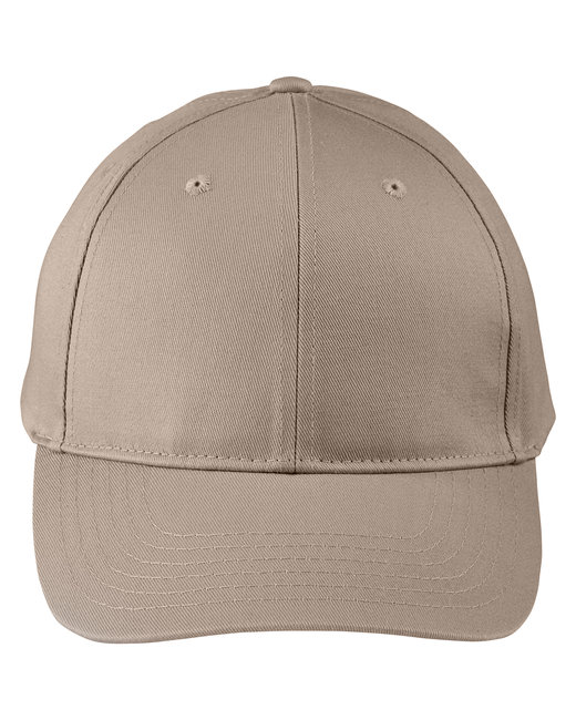 Big Accessories Adult Structured Twill 6-Panel Snapback Cap - Khaki