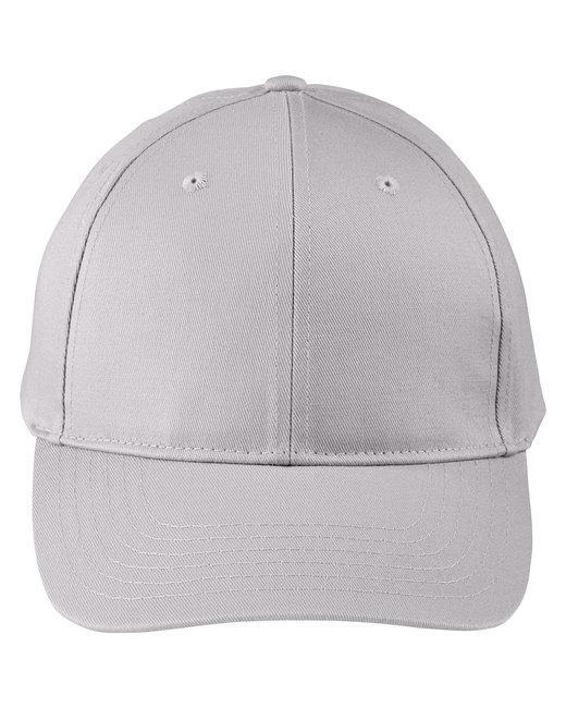 Big Accessories Adult Structured Twill 6-Panel Snapback Cap - Light Gray