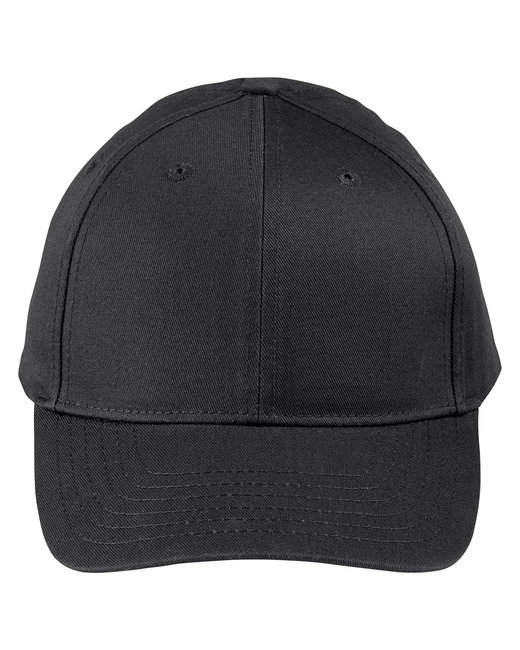 Big Accessories Adult Structured Twill 6-Panel Snapback Cap - Black