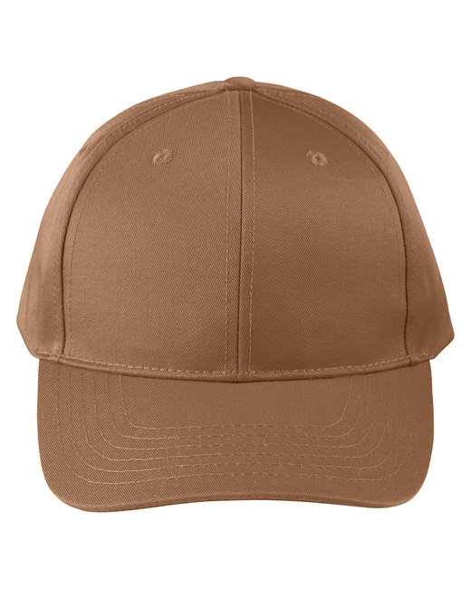 Big Accessories Adult Structured Twill 6-Panel Snapback Cap - Heritage Brown