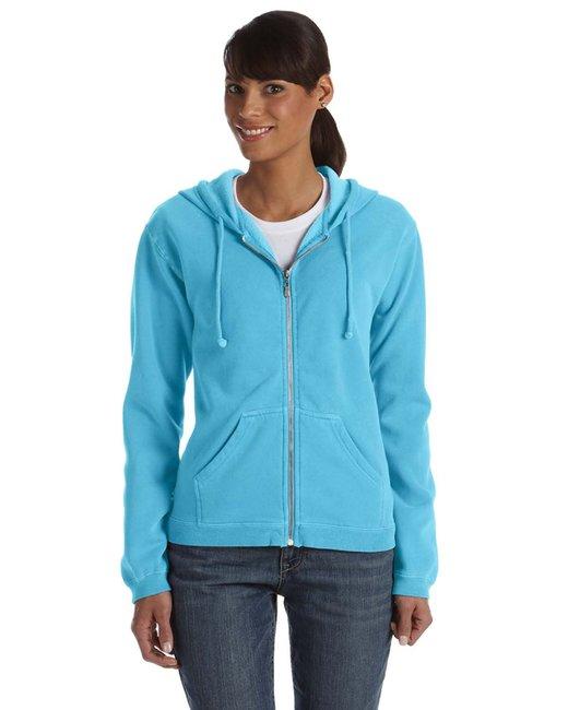 Comfort Colors Ladies' Full-Zip Hooded Sweatshirt - Lagoon Blue