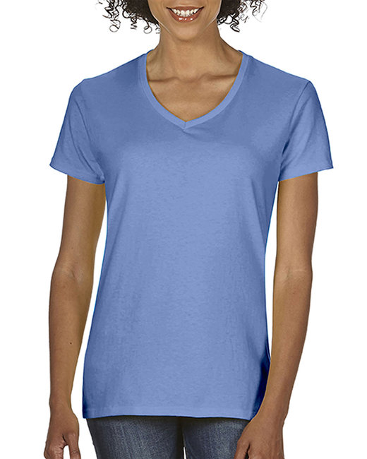 Comfort Colors Ladies'  Midweight RS V-Neck T-Shirt - Flo Blue