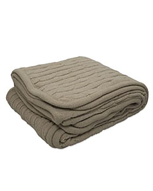 Kanata Blanket Cable Knit Lambswool Blanket - Mocha