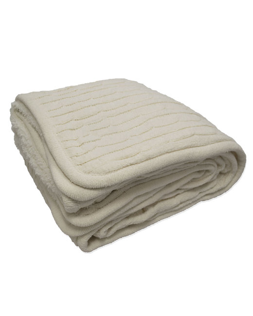 Kanata Blanket Cable Knit Lambswool Blanket - Cream