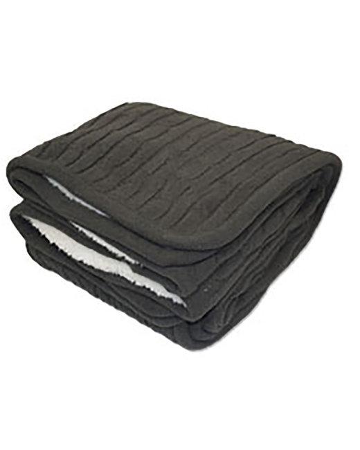 Kanata Blanket Cable Knit Lambswool Blanket - Dark Gray