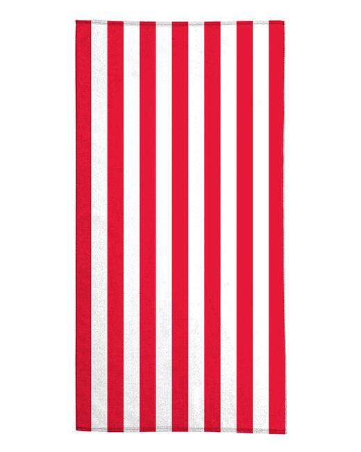 Pro Towels 30X60 Standard Cabana Beach Towel - White/ Red
