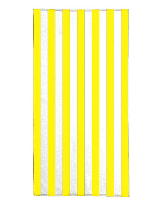 Pro Towels 30X60 Standard Cabana Beach Towel - White/ Yellow