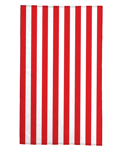 Pro Towels 30X60 Midweight Standard Cabana Beach Towel - White/ Red