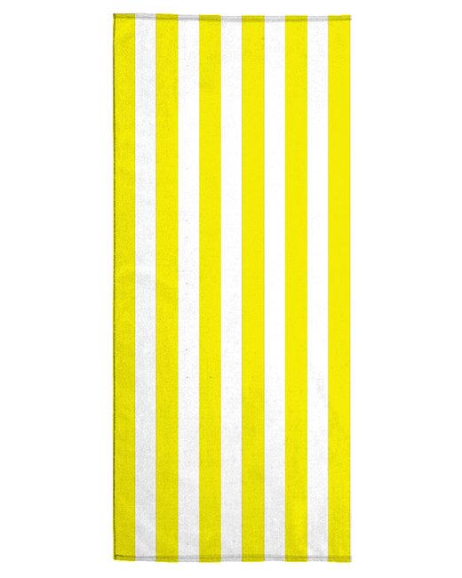 Pro Towels 30X60 Midweight Standard Cabana Beach Towel - White/ Yellow
