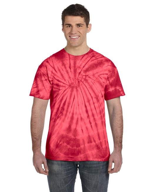 Tie-Dye Adult 5.4 oz. 100% Cotton Spider T-Shirt - Spider Red