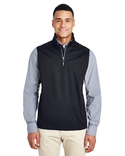 Core 365 Men's Techno Lite Three-Layer Knit Tech-Shell Quarter-Zip Vest - Black